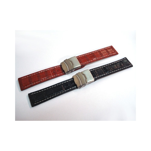 Leather watch strap with folding clasp UBL008