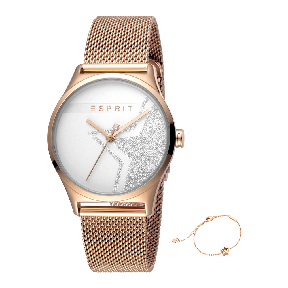 Esprit ES1L034M0285 Sparkle Star Silver Rosegold Mesh Ladies Watch