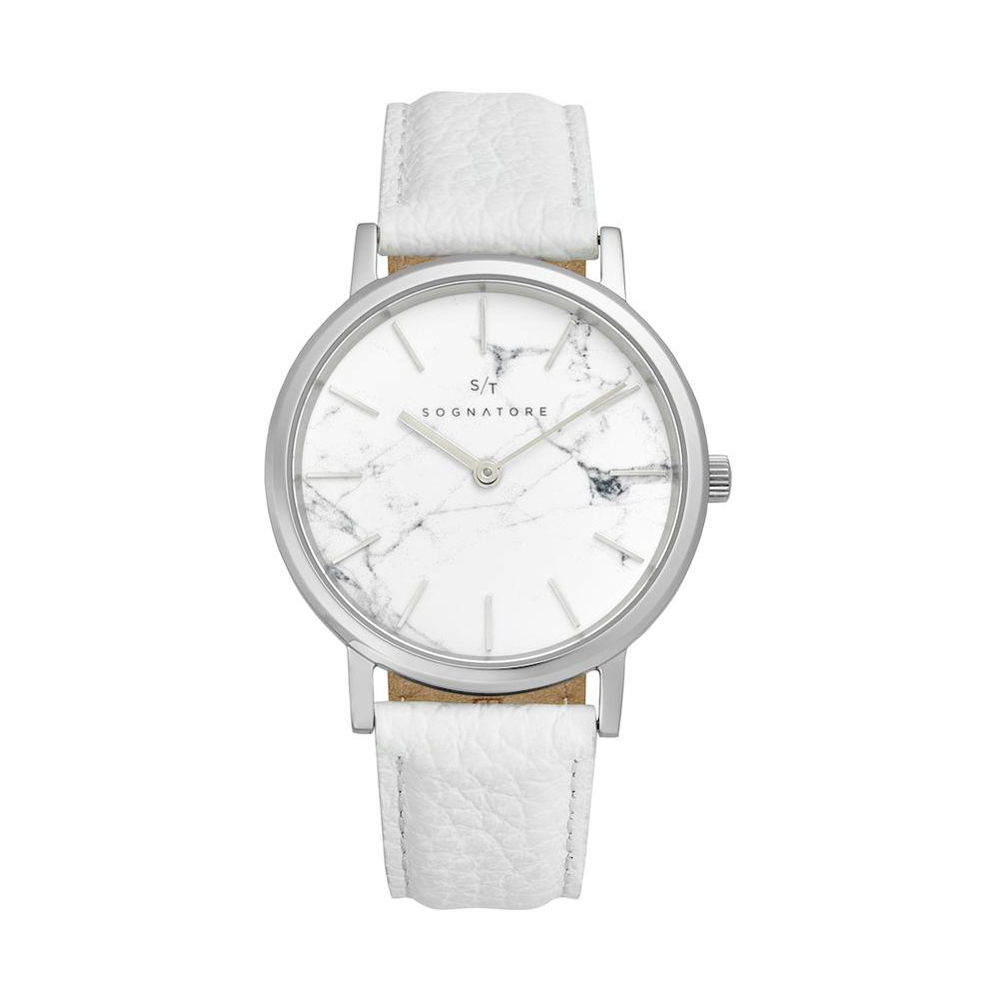 Sognatore Marble White Silver Ladies Watch / Mens Watch